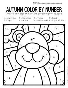 Color by Number Fall Preschool Worksheets Squirrel