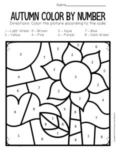 Color by Number Fall Preschool Worksheets Sunflower