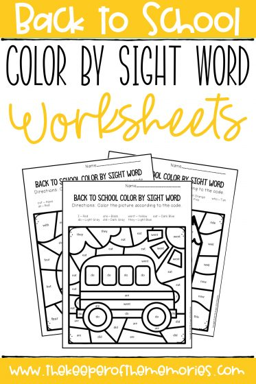 Back to School Worksheets with text: Back to School Color by Sight Word Worksheets