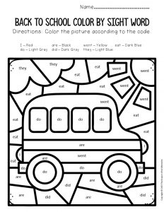 Color by Sight Word Back to School Kindergarten Worksheets Bus