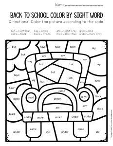 Color by Sight Word Back to School Kindergartern Worksheets School Bus