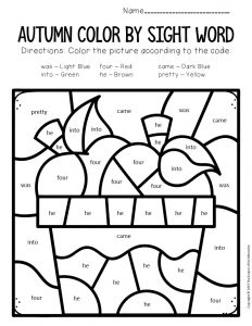 Color by Sight Word Fall Kindergarten Worksheets Apples
