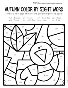Color by Sight Word Fall Kindergarten Worksheets Crow