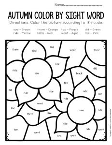Color by Sight Word Fall Kindergarten Worksheets Flowers