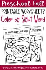 Color by Sight Word Fall Preschool Worksheets