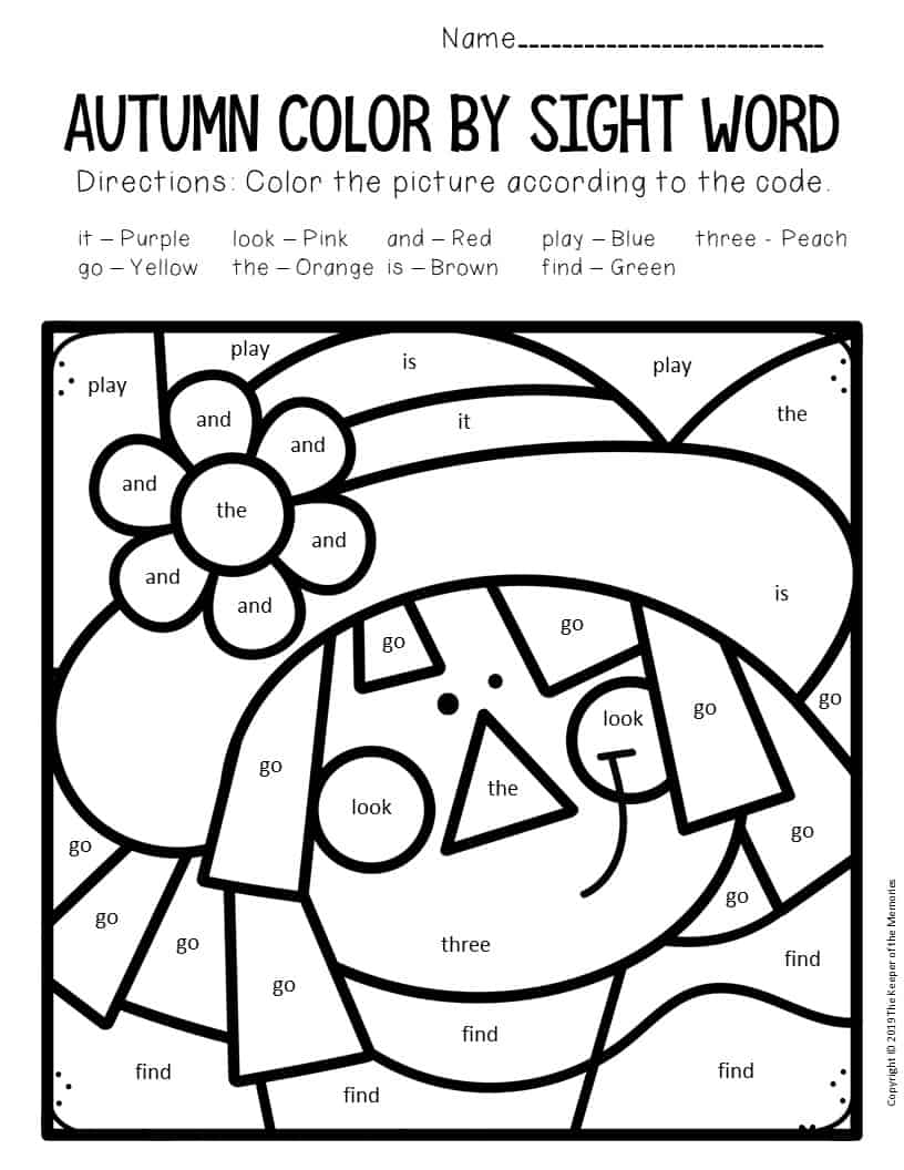 Color by Sight Word Fall Preschool Worksheets Scarecrow ...