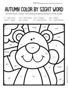 Color by Sight Word Fall Preschool Worksheets Squirrel