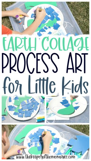 collage of process art images with text: Earth Collage Process Art for Little Kids