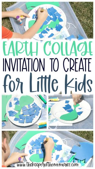 collage of process art images with text: Earth Collage Invitation to Create for Little Kids