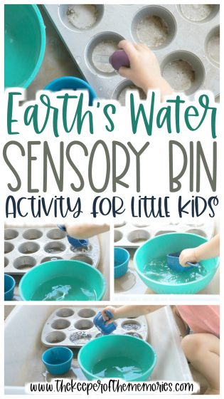 collage of water play images with text: Earth's Water Sensory Play Bin for Little Kids