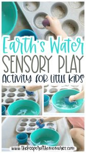 collage of water play images with text: Earth's Water Sensory Play Activity for Little Kids