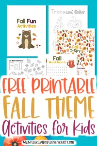 collage of fall activities for kids with text: Free Printable Fall Activities for Kids