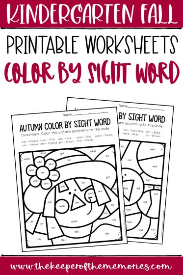 collage of Color by Sight Word Fall Kindergarten Worksheets with text: Kindergarten Fall Printable Worksheets Color by Sight Word