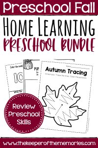 collage of Fall Preschool Learn At Home Bundle Worksheets with text: Preschool Fall Home Learning Preschool Bundle Review Preschool Skills