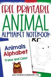 collage of animal alphabet worksheets with text: Free Printable Animal Alphabet Notebook