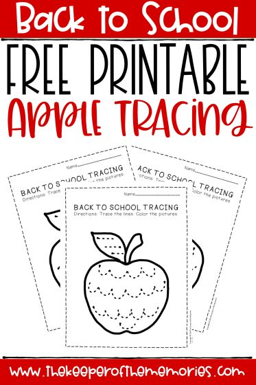 collage of apple tracing worksheets with text: Back to School Free Printable Apple Tracing