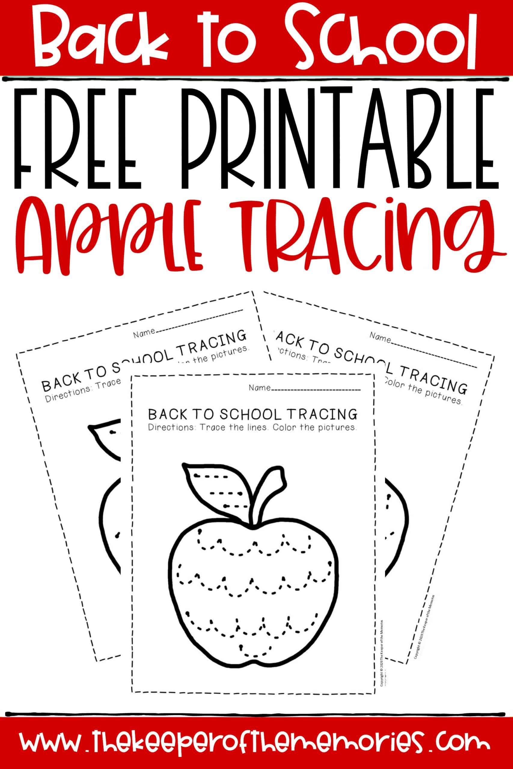 Free Printable Tracing Back to School Preschool Worksheets ...