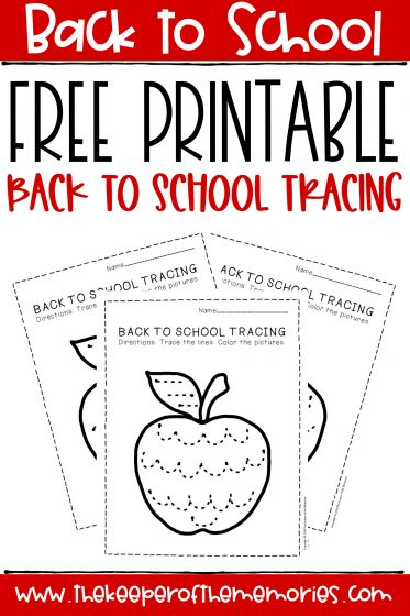 collage of apple tracing worksheets with text: Back to School Free Printable Back to School Tracing