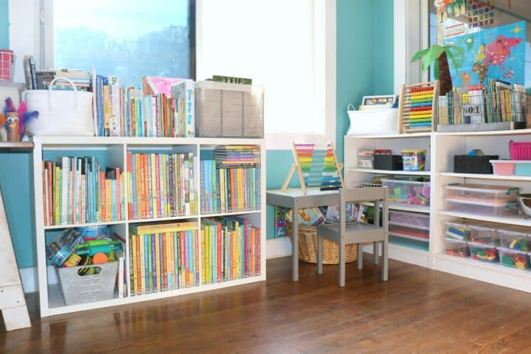 preschool homeschool space with bookshelves