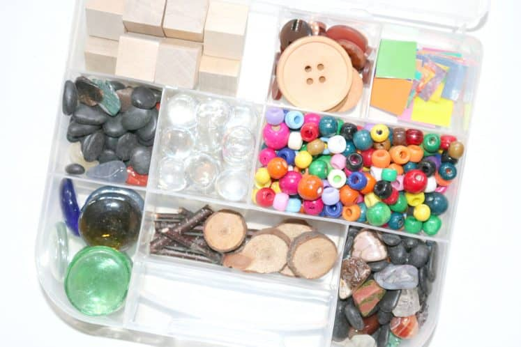 Loose Parts in small plastic divided container