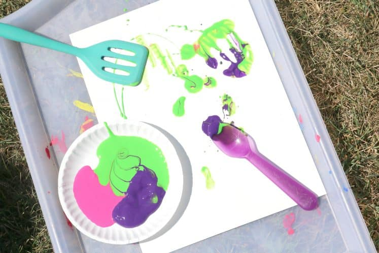 spoon and spatula on painted cardstock