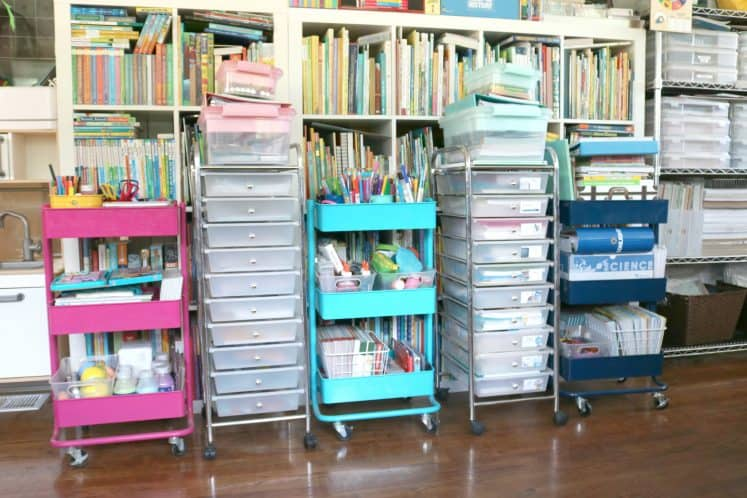carts filled with art materials and homeschool supplies