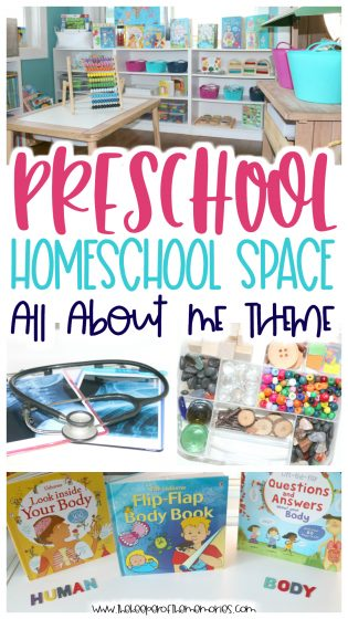 collage of homeschool room ideas with text: Preschool Homeschool Space All About Me Theme
