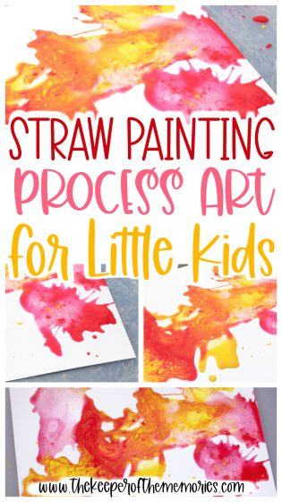 collage of process art images with text: Straw Painting Process Art for Little Kids