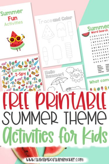 collage of summer activities for kids with text: Free Printable Summer Theme Activities for Kids
