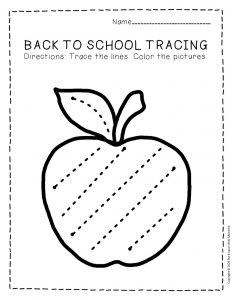Tracing Back to School Preschool Worksheets 1