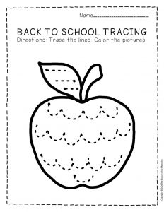 Tracing Back to School Preschool Worksheets 2