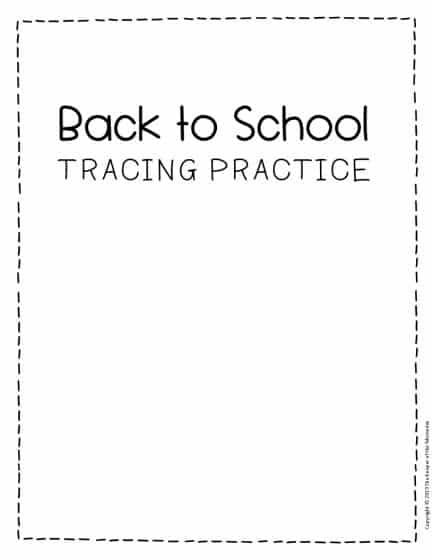 Tracing Back to School Preschool Worksheets