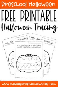collage of Halloween Tracing Worksheets with text: Preschool Halloween Free Printable Halloween Tracing