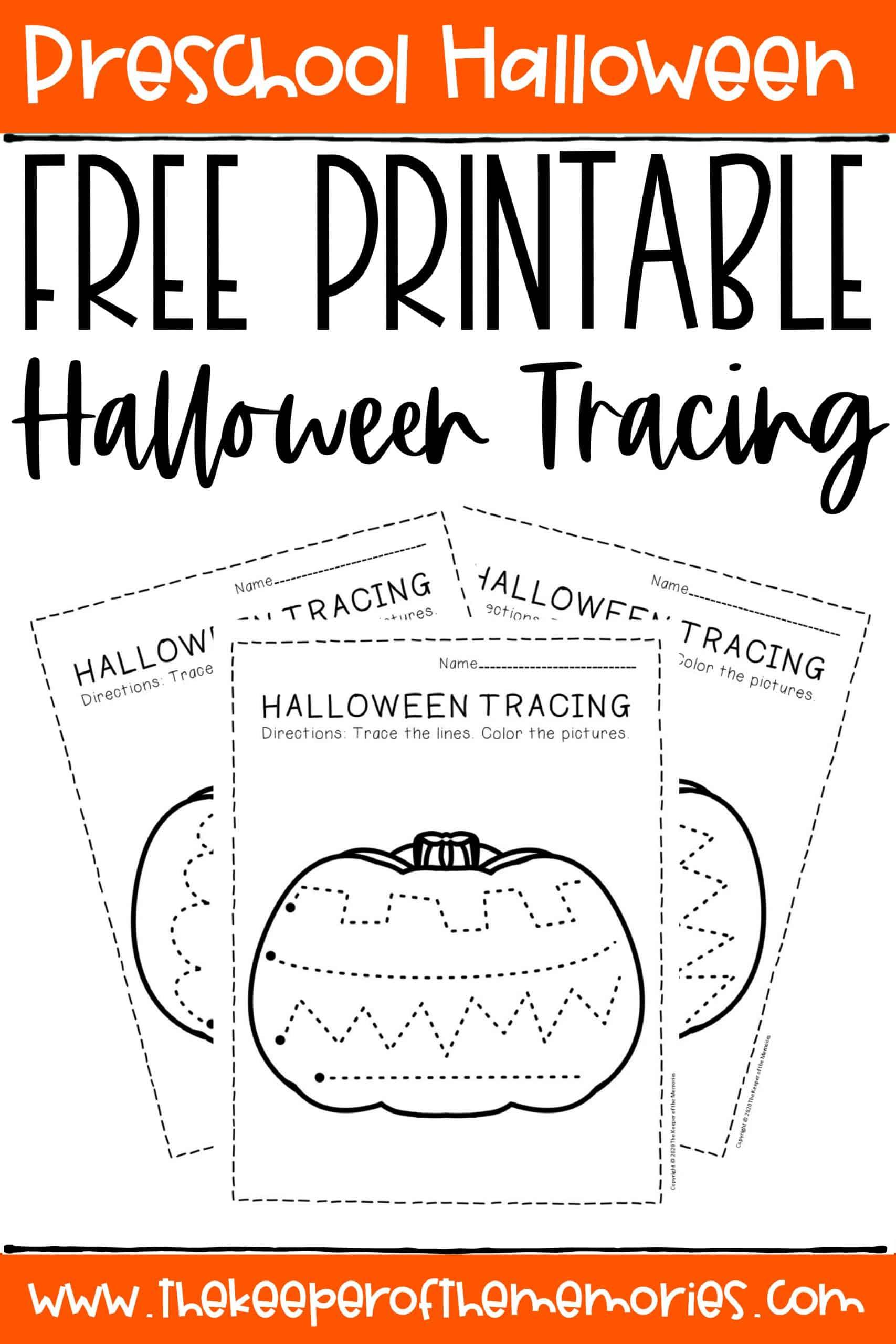 Free Printable Tracing Halloween Preschool Worksheets