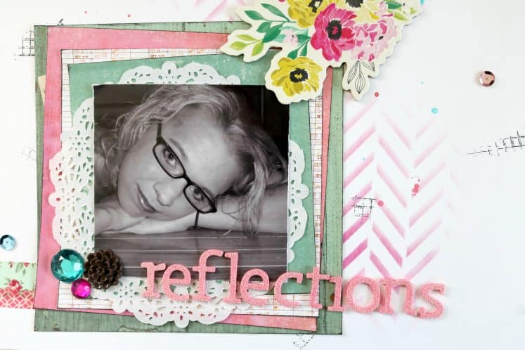 all about me scrapbook layout with black and white photo