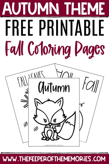 collage of Fall Coloring Pages with text: Autumn Theme Free Printable Fall Coloring Pages