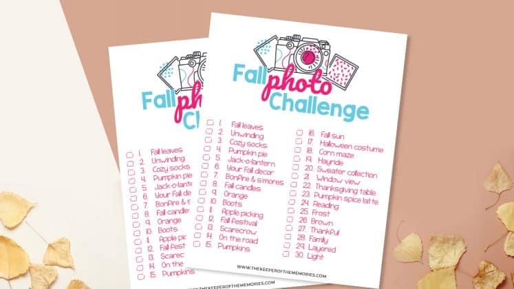 collage of Fall Scrapbooking Ideas Photo Challenge printables