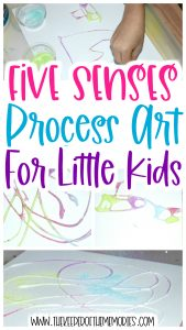 collage of Sand Process Art images with text: Five Sense Process Art for Little Kids
