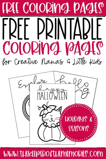 collage of free coloring pages with text: Free Coloring Pages Free Printable Coloring Pages for Creative Mamas & Little Kids Holidays & Seasons