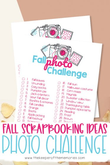collage of Fall Scrapbooking Ideas printables with text: Fall Scrapbooking Ideas Photo Challenge