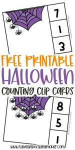 collage of Halloween clip cards with text: Free Printable Halloween Counting Clip Cards