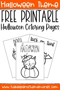 collage of Halloween Coloring with text: Halloween Theme Free Printable Halloween Coloring Pages