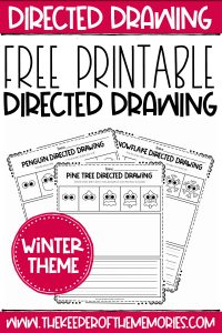 Winter Directed Drawing Printables with text: Directed Drawing Free Printable Directed Drawing Winter Theme