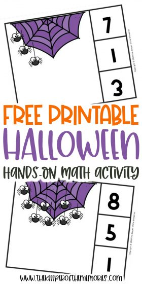 collage of Halloween clip cards with text: Free Printable Halloween Hands-On Math Activity