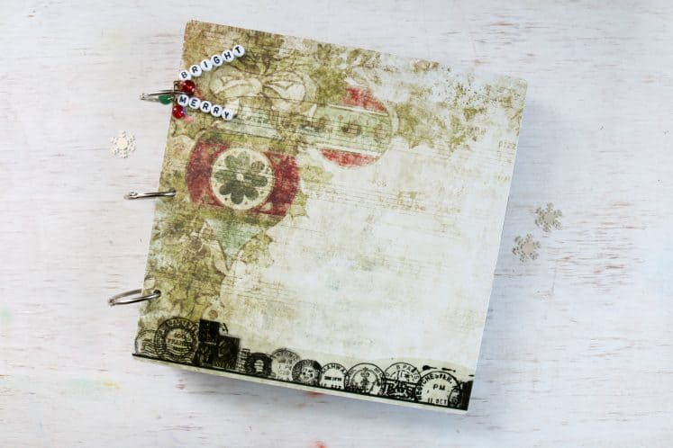 holiday mini album created with chipboard and binder rings