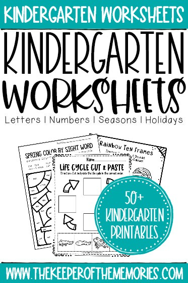 kindergarten worksheets with text: Kindergarten Worksheets Letters Numbers Seasons Holidays 50+ Kindergarten Printables