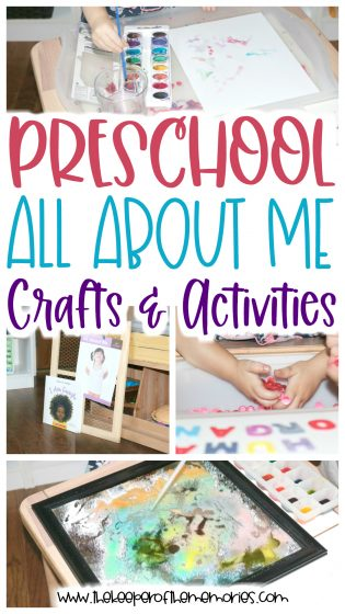 collage of preschool All About Me images with text: Preschool All About Me Crafts & Activities