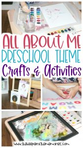 collage of preschool All About Me images with text: All About Me Preschool Theme Crafts & Activities