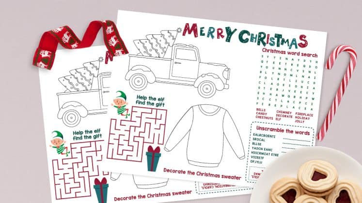 Free Printable Christmas Activities Placemat