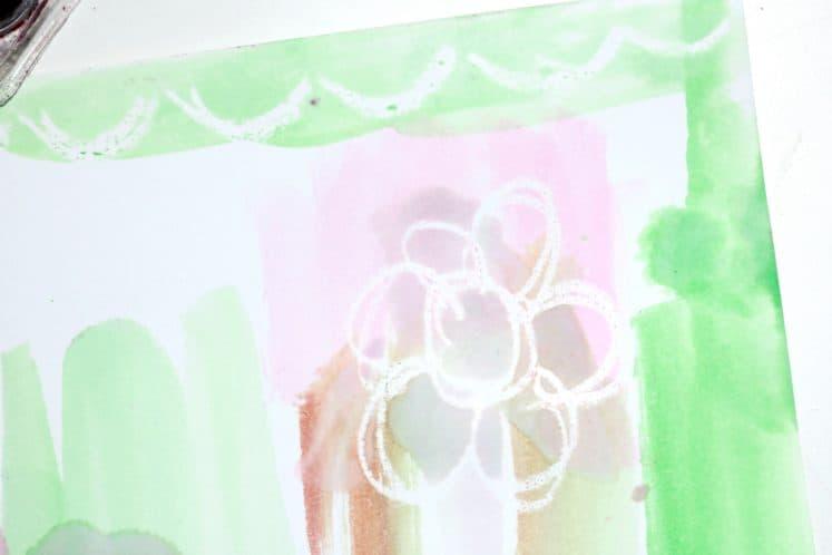 flower and border on preschoolers' resist painting